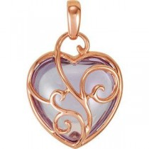 Genuine Rose De France Heart Pendant in 14k Rose Gold