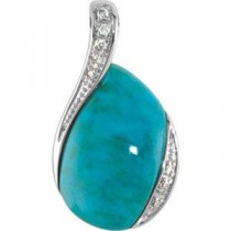 Genuine Chinese Turquoise Diamond Pendant in Sterling Silver