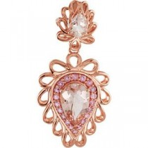 Genuine Morganite Pink Tourmaline Pendant in 14k Rose Gold