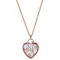 Genuine Rose De France Heart Pendant in 14k Rose Gold