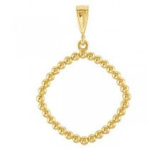 Square Shaped Pendant in 14k Yellow Gold