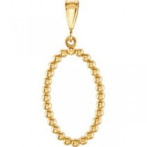 Oval Shaped Pendant in 14k Yellow Gold