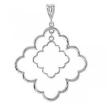 Decorative Pendant in 14k White Gold