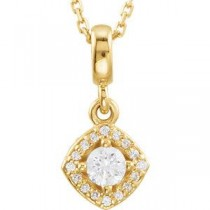 Halo Pendant For Center Cushion Frame in 14k Yellow Gold