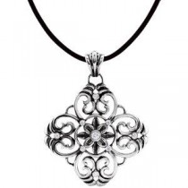 Filigree Design Pendant Or Necklace in Sterling Silver (0.33 Ct. tw.)
