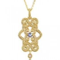 Granulated Design Pendant in 14k White Gold