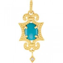 Granulated Design Pendant Or Necklace in 14k Yellow Gold