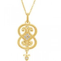 Granulated Design Pendant Or Necklce in 14k Yellow Gold