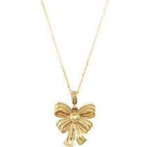 Vintage-Inspired Bow Design Pendant Or Necklace in 14k Yellow Gold