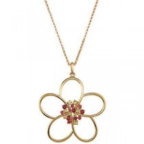 Floral Design Pendant Or Necklace in 14k Yellow Gold