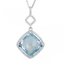 Halo-Style Antique Square Shaped Pendant Or Necklace in Sterling Silver