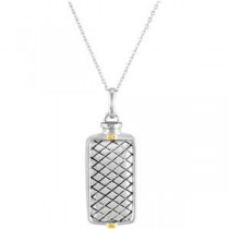 Checkerboard Rectangle Ash Holder Pendant Chain in Sterling Silver