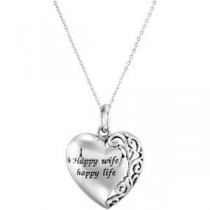 Happy Wife Happy Life Necklace in Sterling Silver
