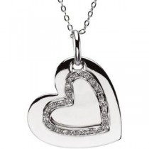 Mother Daughter Heart Pendant Chain in Sterling Silver