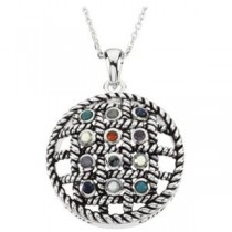 Step Sobriety Stone Pendant Chain in Sterling Silver