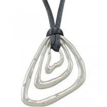 Diamond Pendant with Grey Cord in Sterling Silver