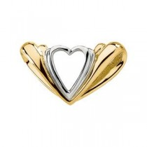 Two Tone Heart Chain Slide in 14k Two-tone Gold