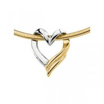 Heart Chain Slide in 14k Two-tone Gold