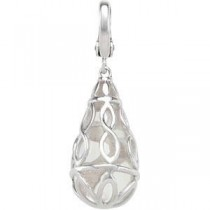 White Quartz Charm in Sterling Silver