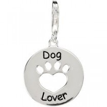 Heart U Back Paw Charm in Sterling Silver