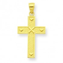 Cross God Loves Me On Reverse Pendant in 10k Yellow Gold