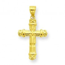 Fleur De Lis Cross Pendant in 10k Yellow Gold