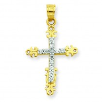 CZ Cross Pendant in 10k Yellow Gold