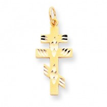 Flat-Backed Eastern Orthodox Cross Pendant in 10k Yellow Gold