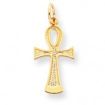 Flat-Backed AnkhEgyptian Cross Pendant in 10k Yellow Gold