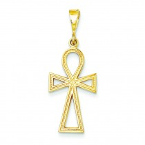 Solid Ankh Cross Charm in 14k Yellow Gold