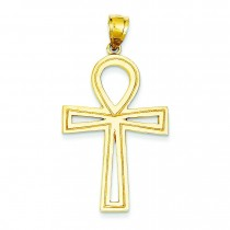 Solid Ankh Cross in 14k Yellow Gold