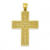 Greek Key Filigree Cross in 14k Yellow Gold