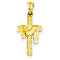 Satin Draped Cross in 14k Yellow Gold