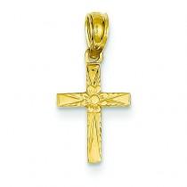 Mini Flower Cross in 14k Yellow Gold