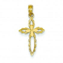 Cut Out Flower Cross in 14k Yellow Gold