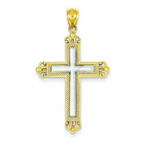 Fleur De Lis Cross in 14k Two-tone Gold