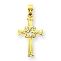 Dove Cross Charm in 14k Yellow Gold
