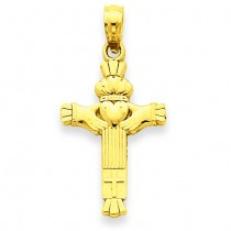 Claddagh Cross Charm in 14k Yellow Gold