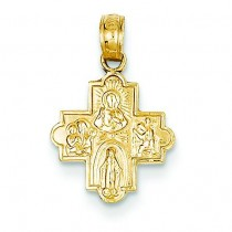 Miniature Four Way Cross in 14k Yellow Gold