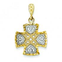 Maltese Fleur De Lis Cross in 14k Yellow Gold