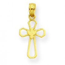 Cross Dove Pendant in 14k Yellow Gold