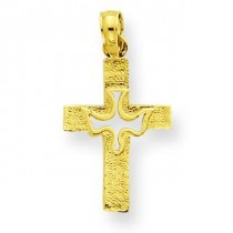 Dove Cut Out On Cross in 14k Yellow Gold