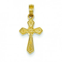 Small Flower Cross in 14k Yellow Gold