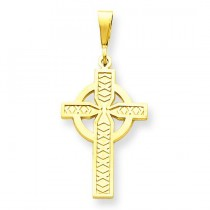 Solid Celtic Cross Charm in 14k Yellow Gold