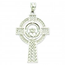 Celtic Claddagh Cross in 14k White Gold