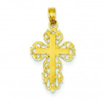 Filigree Fleur De Lis Cross in 14k Yellow Gold