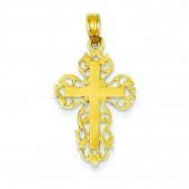 Filigree Fleur De Lis Cross in 14k Yellow Gold
