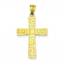 Greek Key Cross in 14k Yellow Gold