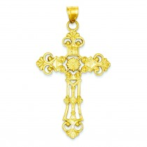 Large Fleur De Lis Cross in 14k Yellow Gold