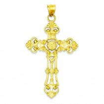 Large Fleur De Lis Cross in 14k Yellow Gold